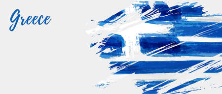 Greece Independence Day holiday background. Abstract grunge brushed flag of Greece. Template for national holiday background, banner, poster, etc. Çizim