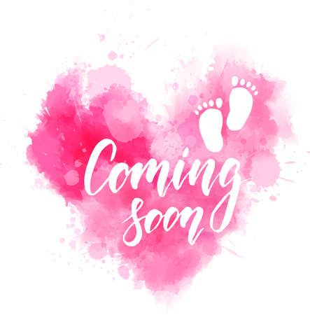 Baby gender reveal concept illustration. Watercolor imitation heart. Coming soon handwritten modern calligraphy lettering text. Pink colored for baby girl.