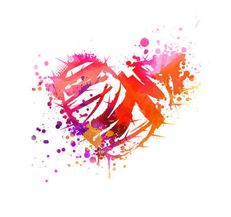 Grunge watercolor painted heart with abstract roses. Pink and purple colored. Vector Illustratie