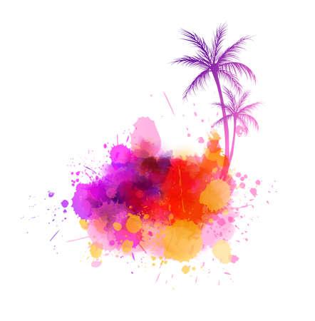 Forma de salpicadura pintada abstracta con siluetas de palmeras. Concepto de viaje. Ilustración de vector