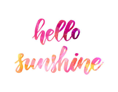 Hello sunshine - watercolor handwritten modern calligraphy lettering. Pink colored. Ilustracja