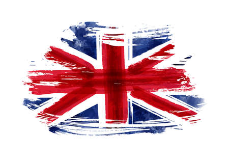 Abstract flag of the United Kingdom. Grunge painted flag with watercolor splashed and brushed lines. Template for your designs.