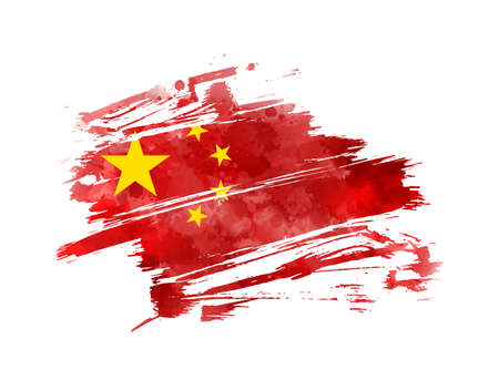 Abstract grunge watercolor flag of China. Template background for national holidays, poster, banner, flyer. etc.