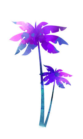 Purple and blue colored watercolor painted palm trees. Template for your summer designs. Ilustração