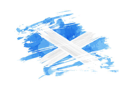 Grunge painted Scotland flag. Template for invitation, poster, flyer, banner, etc. Abstract watercolor splashes flag of Scotland