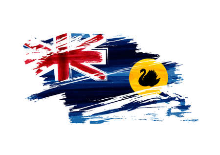 Western Australia abstract painted grunge flag.