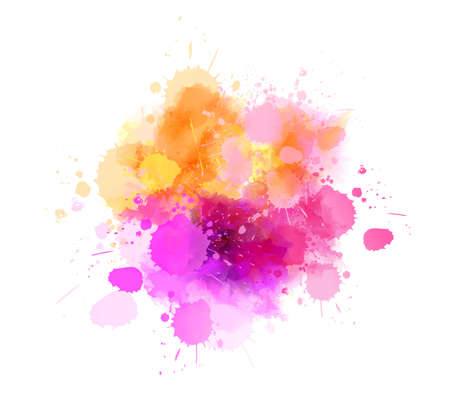 Multicolored splash watercolor paint blot - template for your designs. Pink and orange colored