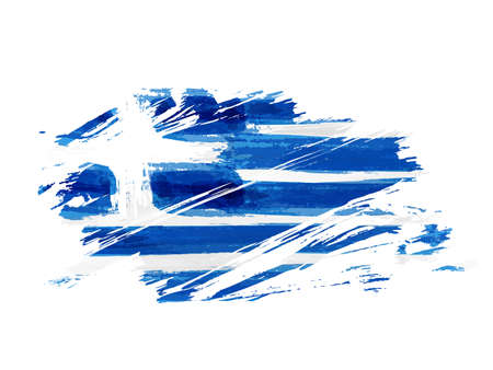 Abstract grunge brushed flag of Greece. Template for national holiday background, banner, poster, etc.