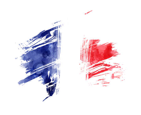 Watercolor abstract splashes background in France flag colors. Template for national holidays or celebration background. Holiday template background for banner, invitation, postcard, background, poster. Ilustracja