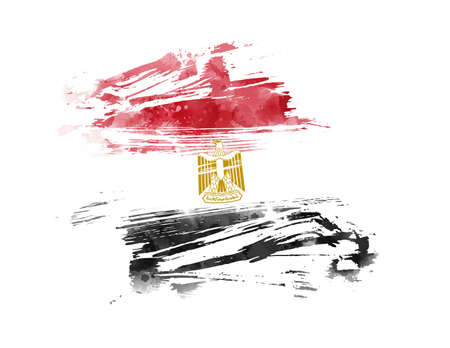 Abstract flag of Egypt. Template for holiday banner, invitation, flyer, etc. Abstract grunge watercolor flag background.  Ilustrace