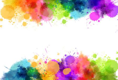 Fond de bannière avec cadre de taches d'éclaboussures d'imitation aquarelle colorée. Modèle pour vos conceptions. Vecteurs