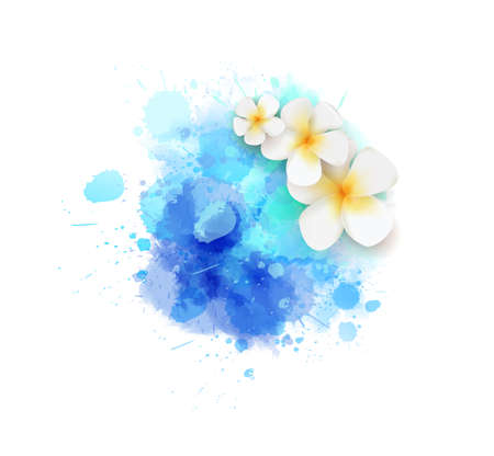 Abstract summer background with frangipani (plumeria) flowers on blue colored watercolor splash 矢量图像