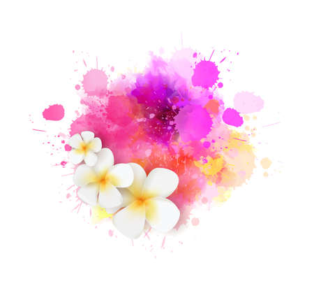 Abstract summer background with frangipani (plumeria) flowers on purple and pink colored watercolor splash