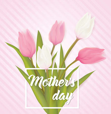 Mothers day greeting card with tulip flowers. With typography greeting message.