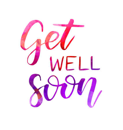 Get well soon - handwritten watercolor lettering. Healthy life concept illustration. Inspirational calligraphy text. Stockfoto - 145435541