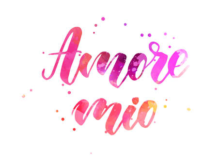 Amore mio - My love in Italian language. Handwritten modern watercolor calligraphy lettering text. Pink colored with dots decorations.