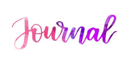 Journal - handwritten modern watercolor calligraphy lettering text. Purple and pink colored