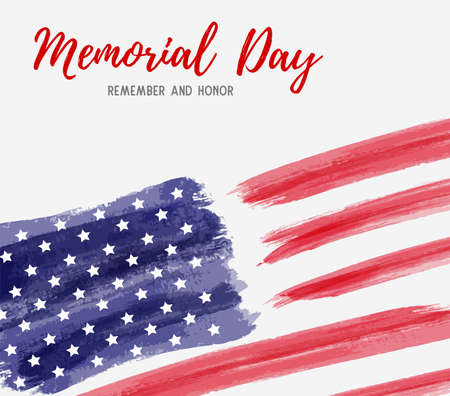 USA Memorial day background. Abstract grunge brushed flag of United States of America with text. Ilustracja