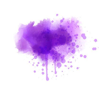 Purple colored splash watercolor paint blot - template for your designs. Grunge painted imitation splash background. Ilustração