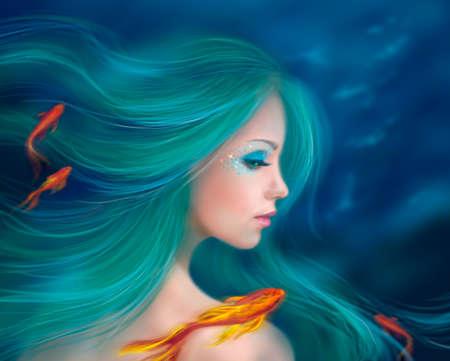 maquillaje de fantasia: Fantas�a sirena con peces rojos en el mar