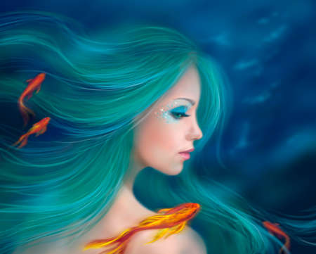 Fantasy mermaid with red fishes in sea
