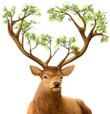 originality: Fantasy Fantastic Kind deer with tree horns