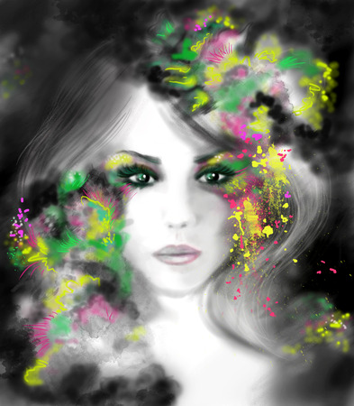 beautifu: Fantasy beautifu Portrait woman illustration Stock Photo