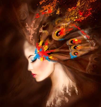 donna farfalla: Fantasy beautifu Ritratto donna farfalla. Illustrazione Archivio Fotografico