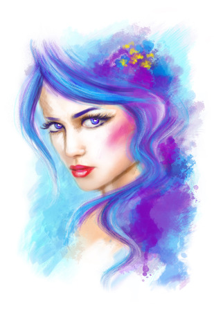 portrait: woman beautifu fantasy portrait  and abstract illustration
