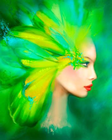 donna farfalla: Ritratto bella donna verde estate farfalla