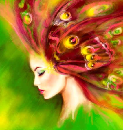 donna farfalla: Fantasy Ritratto bella donna farfalla. Illustrazione