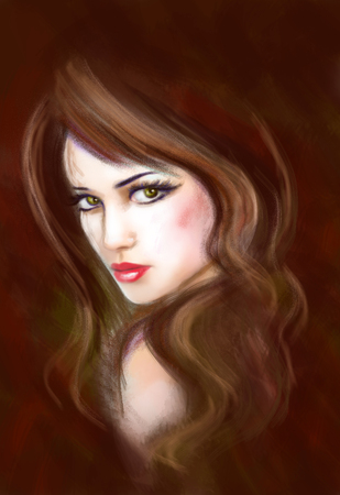 face painting: Portrait of fantasy beautiful young woman