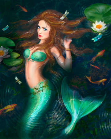 illustration Beautiful Fantasy mermaid in lake with lilies