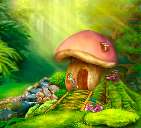 enchanted forest: Fantasy mushroom cottage on a colorful meadow. Illustration Stock Photo