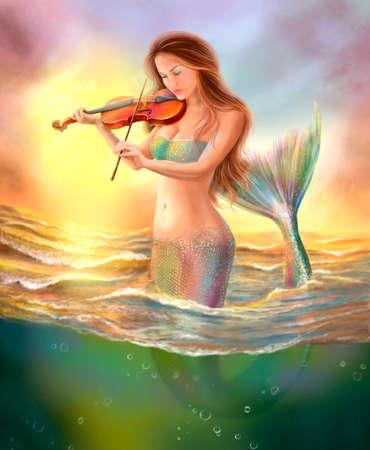 schöne Phantasiemeerjungfrau spielt auf Geige auf Sonnenuntergang