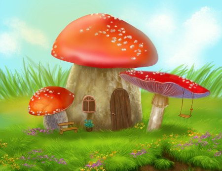 a fly agaric: Fantasy fly agaric mushroom cottage on a colorful meadow Stock Photo
