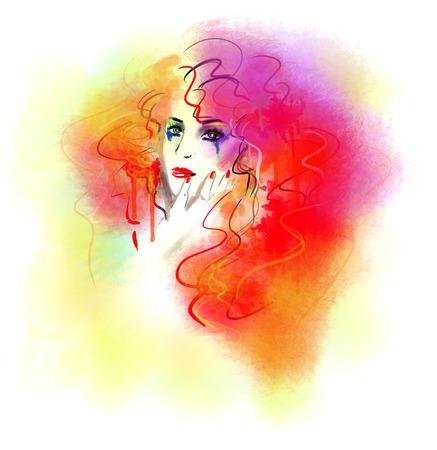 beautiful face: Fashion beautiful woman autumn abstract. Illustration color Stock Photo
