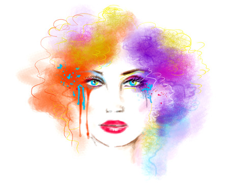 hairstyle: Multicolored abstract portrait beautiful woman. Illustration. Digital painting Stock Photo