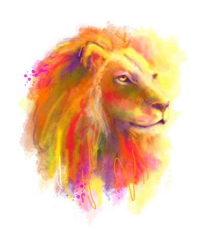 drawing large: Abstract multi-coloured illustration head of the lion