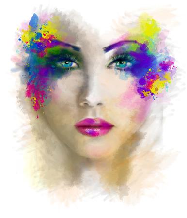 抽象的な女性美しい肖像画イラスト