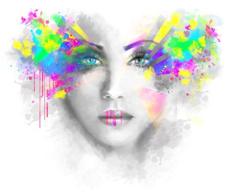 abstrato: Multicolorida abstractn Mulher Ilustração bonita do retrato Banco de Imagens