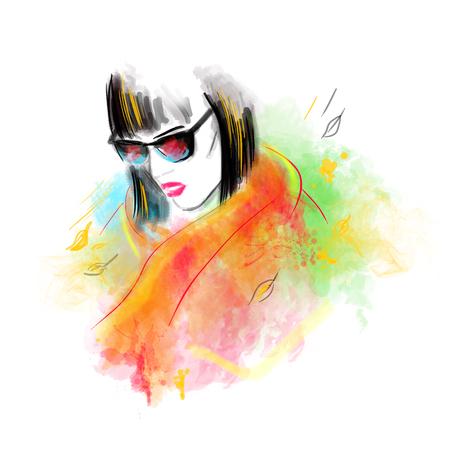 autumn woman: Fashion beautiful woman autumn abstract. Illustration water color Stock Photo