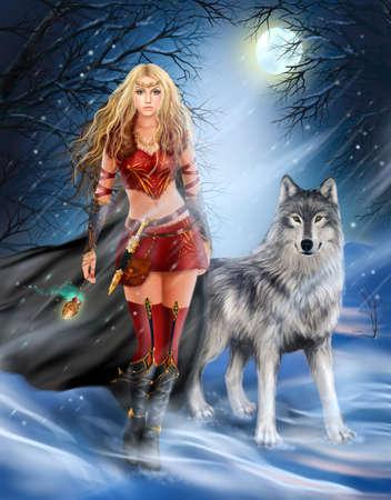 guerrero: Invierno Princesa Guerrera y el lobo Foto de archivo