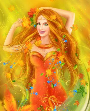fantasia: Fantasia mulher fada bonita do outono. natureza. retrato da forma Banco de Imagens