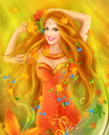 fantasy: Fantasy Beautiful fairy woman autumn. nature. fashion portrait