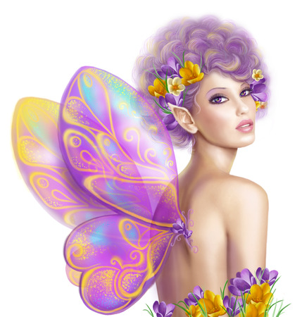 pink flower background: Beautiful girl fairy butterfly at pink and purple flower background
