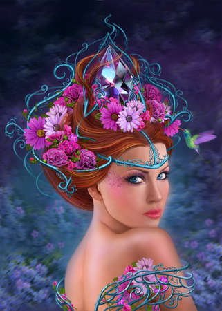 magic eye: Fantasy Woman and flowers, fashion portrait