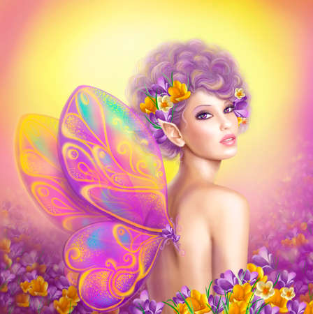 Schönes Mädchen Fee Schmetterling auf rosa und lila Blumenhintergrund