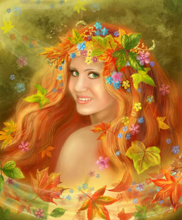 abstract paintings: Fantasy fairy woman Beautiful Autumn on flowers background.