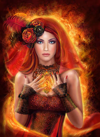 Magic Fantasy woman red fairy fiery fire. Beautiful fiery red fairy and magic necklace. Stock Photo